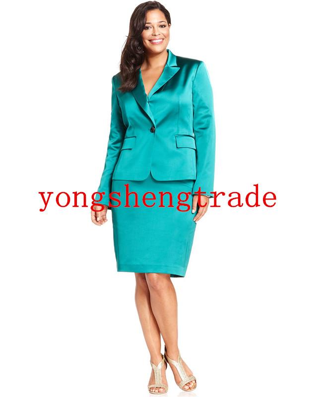 [해외]플러스 사이즈 새틴 이브닝 자켓 & amp; 펜 던 트 스커트 에메랄드 여자 양복 사용자 지정 만든 된 여자 양복 옷 깃 프론트 단추 클로저 HS7964/Plus Size Satin Evening Jacket & Pencil Skirt Emeral