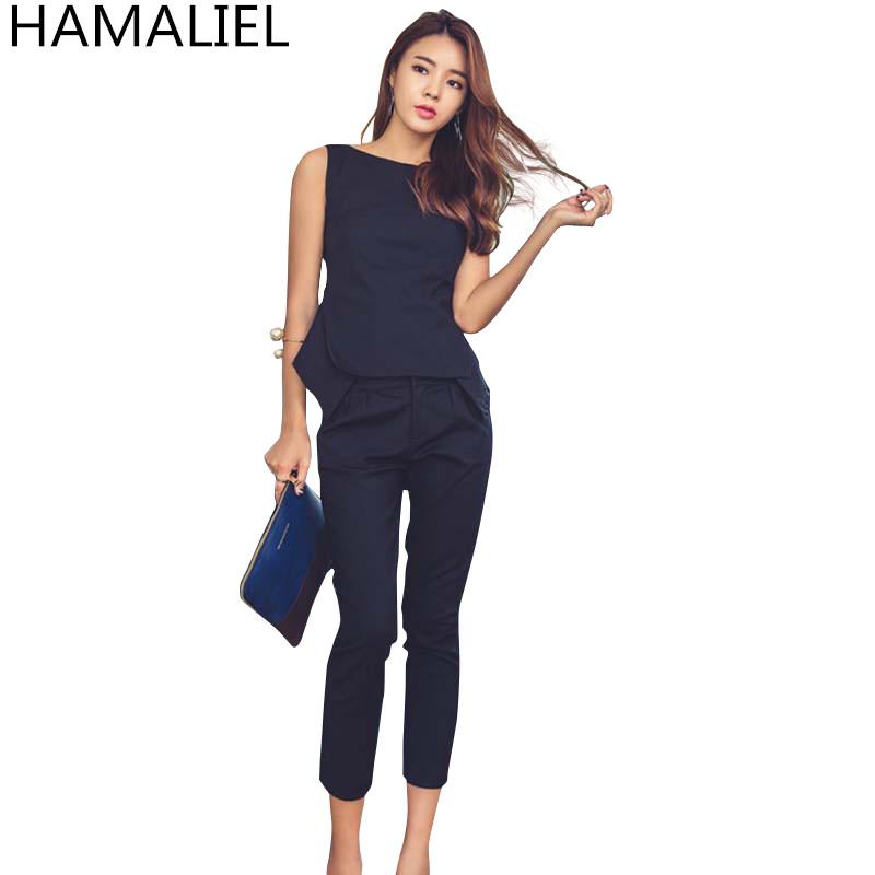 [해외]?여름 여성 정장 2 조각 바지 정장 2017 패션 솔리드 민Retail OL 블라우스 탑 + 슬림 작업 송아지 길이 바지 세트/ Summer Women Formal 2 Piece Pant Suit 2017 Fashion Solid Sleeveless OL Bl
