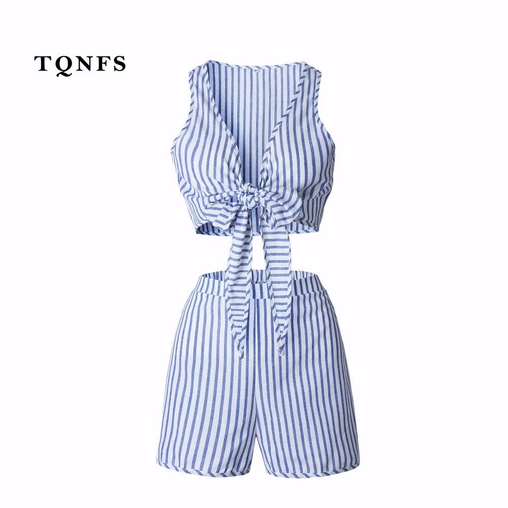 [해외]TQNFS 여름 딥 브이 넥 여성용 세트 스트 라이프 블루 2 개 세트 자르기 위쪽과 반바지 탄성 웨스트 허들 두 세트 여성 의류 세트/TQNFS Summer Deep V Neck Women&s Sets Striped Blue 2 Pieces Set Crop T