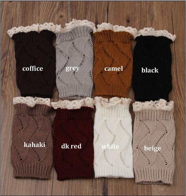 [해외]?6pair / lot 패션 여성 할로우 크로 셰 뜨개질 레이스 트림 부츠 커프스 레그 워머 양말/ 6pair /lot Fashion Women Hollow Crochet Knitted lace Trim Boot Toppers Cuffs Leg Warmers S