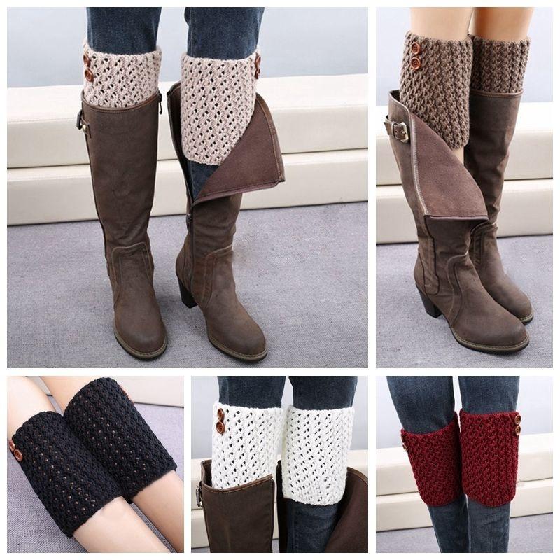 [해외]1 쌍 패션 스타일 여자 소프트 크로 셰 뜨개질 니트 레그 워머 부츠 커버 레이스 리프 트림 양말 sur chaussette/1 pair Fashion Style Womens Soft Crochet Knitted Leg Warmers Boot Cover Lace