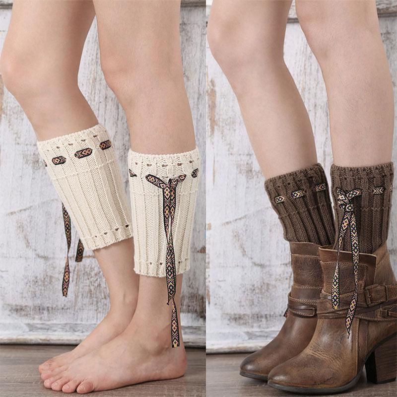 [해외]탑 패션 새 니트 레그 워머 여성 여자 겨울 크로 셰 뜨개질 레이스 로프 부팅 양말 커프 레그 워머/Top  Fashion New Knitted Leg Warmers Women Girls Winter Crochet Lace Rope Boot Sock Cuff