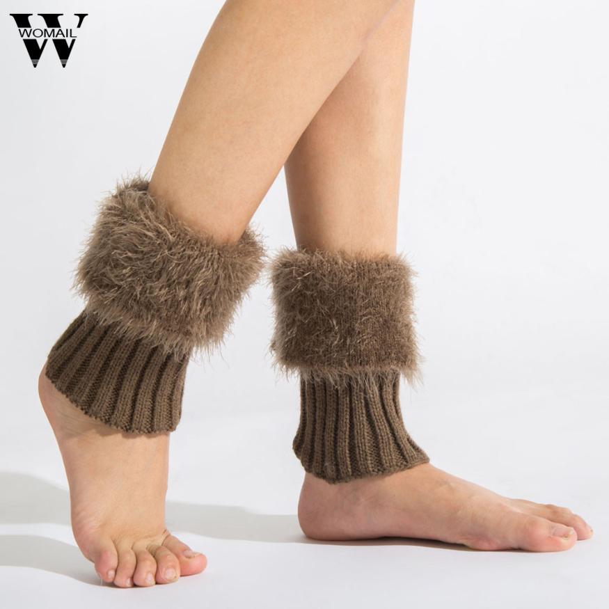 [해외]1 쌍 여성 모조 가죽 크로 셰 뜨개질 니트 레그 워머 부츠 커프스 솔리드 컬러 겨울 따뜻한 부츠 양말/1 Pair Women Faux Fur Crochet Knitted Leg Warmer Boot Cuffs Solid Color Winter Warm Boot