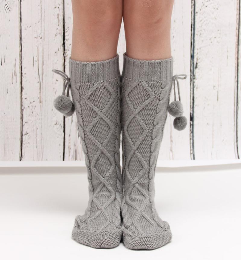 [해외]레그 워머 탄성 신축성 대 카잉 허벅지 밴드 솔리드 폼 폴볼 니트 부츠 양말 부츠 커프스 트리코 필 하이버/Leg Warmer Elastic Anti-Chafing Thigh Bands Solid Pom Pom Ball Knitted Boot Socks Boot