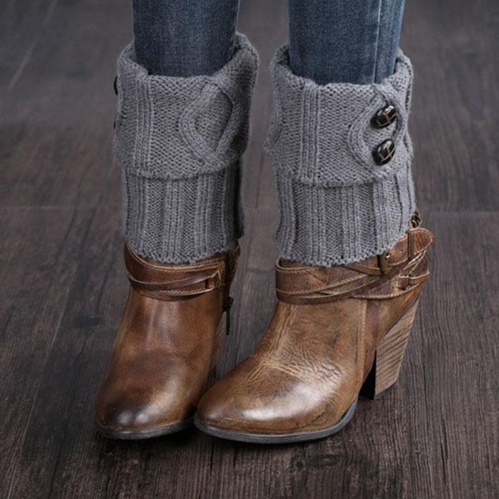 [해외]여성 겨울 짧은 레그 워머 버튼 크로 셰 뜨개질 니트 부츠 솔리드 양말 토퍼 커프스/Women Winter Short Leg Warmer Button Crochet Knit Boot solid Socks Toppers Cuffs