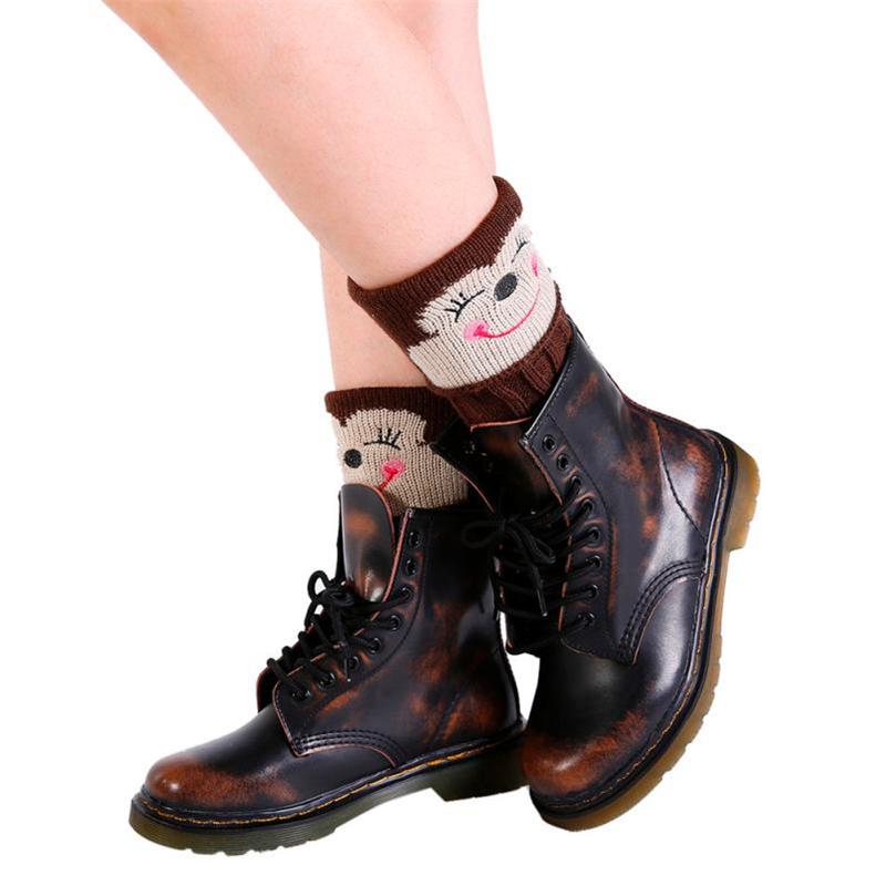 [해외]?만화 동물 레그 워머 여성 겨울 따뜻한 스마일 니트 레그 워머 크로 셰 뜨개질 부츠 양말 미디어 슈즈 레그 워머/ Cartoon Animal Leg Warmers Women Winter Warm Smile Knit Leg Warmers Crochet Slouc