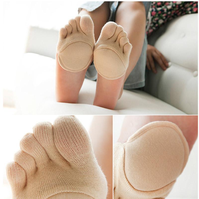 [해외]요가 여성 양말 실리콘 미끄럼 방지 라이닝 오픈 토우 힐리스 라이너 코튼 양말 보이지 않는 앞발 쿠션 발 패드 양말/yogis Women Socks Silicone Anti-slip Lining Open Toe Heelless Liner Cotton SocksI