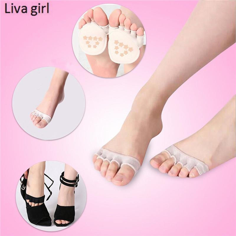 [해외]5pars / Lot Girls 손바닥 양말 절반 여성 짧은 발목 보트 낮은 컷 양말 여자 발가락 하이힐 실리콘 안티 슬립 스텔스 양말/5pars/Lot Girls Half a palm socks Women Short Ankle Boat Low Cut Socks