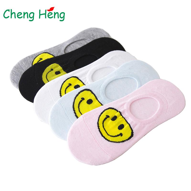 [해외]여자 면화 봄 여름 보트 양말 실리카 젤 비 - 슬립 해피 스마일 얼굴 캔디 컬러 통기성 멋진 양말 슬리퍼 Meias Meia/Womens Cotton Spring Summer Boat Socks Silica Gel Non-slip Happy Smile Face