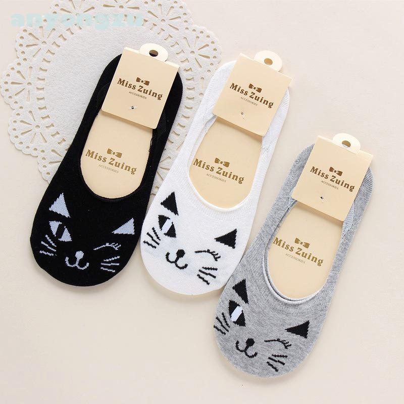 [해외]아니 종이 12 PC / 많은 새로운 봄 가을 사랑스러운 검은 만화 고양이 편안한 통기성 패션 코튼 패션 보트 양말 슬리퍼 A1132/No Paper 12 Pcs/lot New Spring Autumn Lovely Black Cartoon Cat Comforta