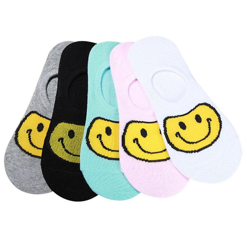 [해외]5 쌍 여성 보트 양말 귀여운 만화 미소 얼굴 부드러운 색상 보이지 않는 코튼 소녀 여성 양말 여름 편안한 데오도란트 Meia/5 Pairs Women Boat Socks Cute Cartoon Smile Face Soft Color Invisible Cotto