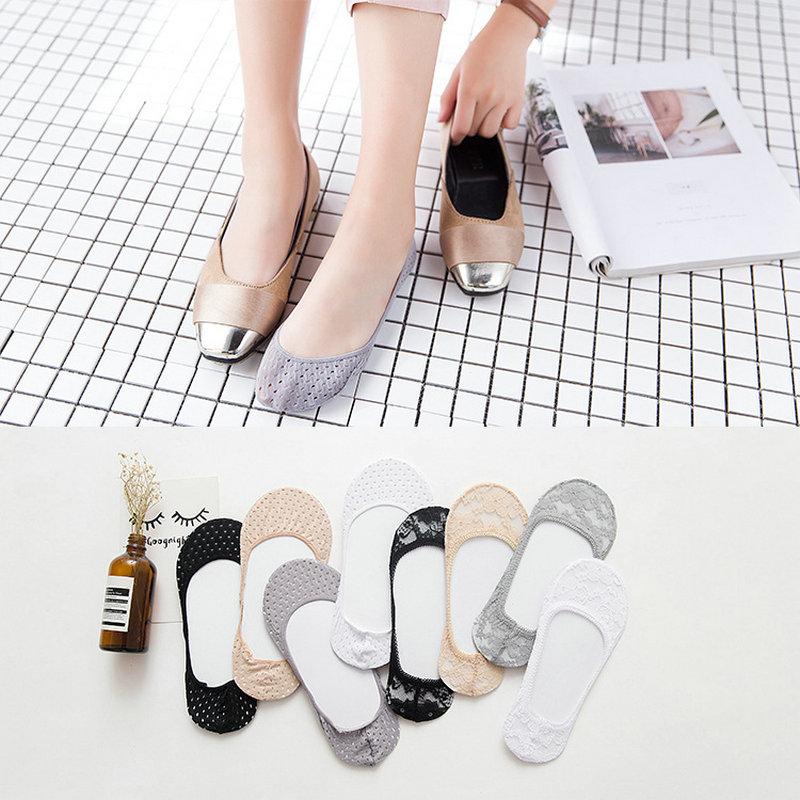 [해외]새 도착 여자 & 양말 여름 레이디 코튼 레이스 짧은 발목 여성 안티 스키드 보이지 않는 라이너 아니오 쇼 로우 컷 양말 10pcs = 5pairs/New Arrive Women&s Socks Summer Lady Cotton Lace Short Ankl