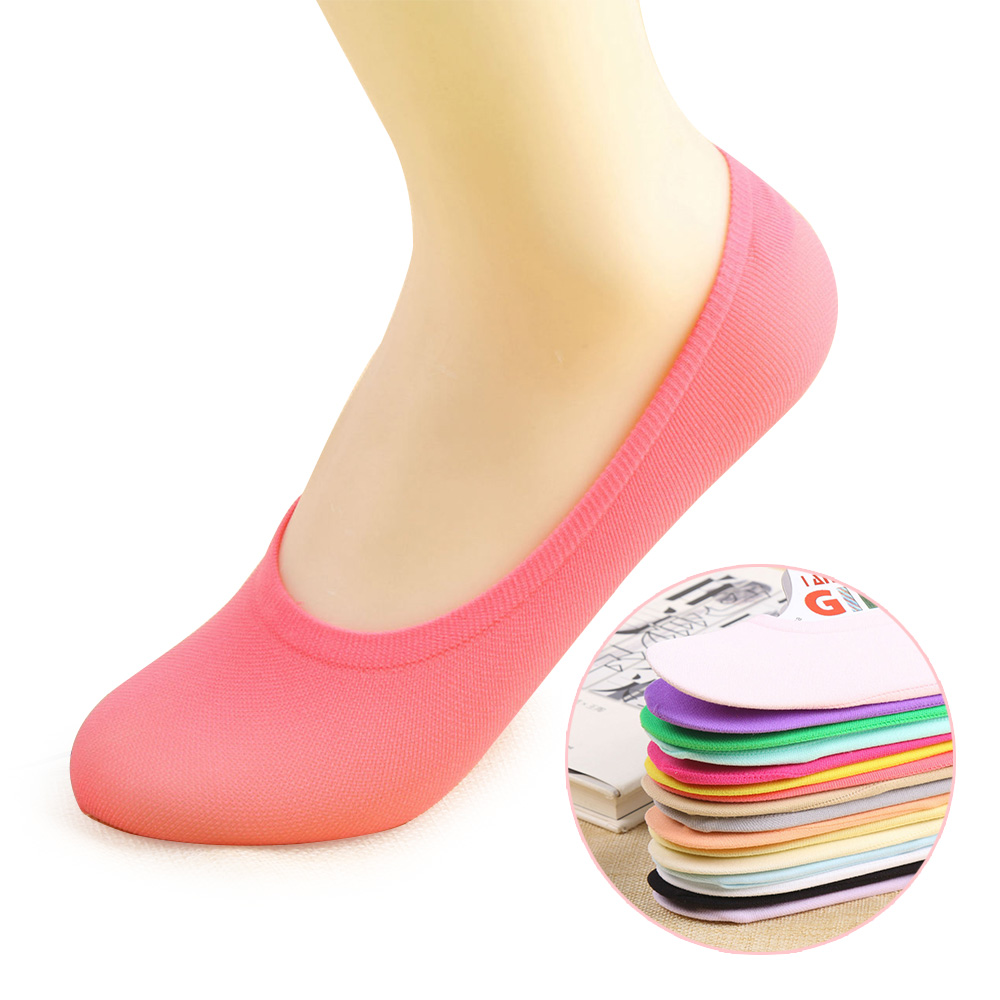 [해외]5 쌍 여성 슬리퍼 양말 미끄럼 방지 보이지 않는 쇼 여성 양말 로우 컷 캐주얼 양말 통기성 Sheers 10 캔디 색상/5 pairs Women slipper socks Anti-skid Invisible No show female socks Low Cut C