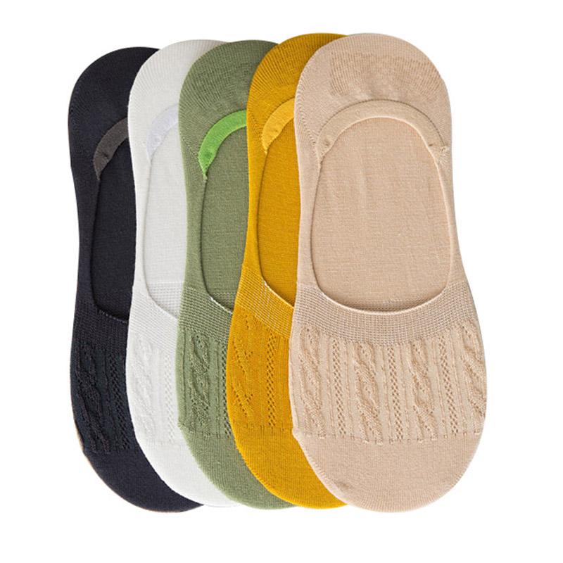 [해외]6 쌍 여성 보이지 않는 보트 양말 대나무 섬유 단색 트위스트 라인 공주 소녀 양말 여름 케어 피부 부드러운 여성 Meias/6 Pairs Women Invisible Boat Socks Bamboo Fiber Solid Color Twist Lines Prin