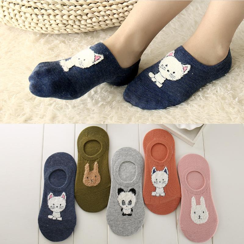 [해외]Ixuejie 5 파리 / 많은 면화 여성 보이지 않는 양말 여름을귀여운 고양이 토끼 슬리퍼 양말/Ixuejie 5 Paris/lot Cotton Women Invisible Socks Cute Cat Bunny Slippers Sock for Summer
