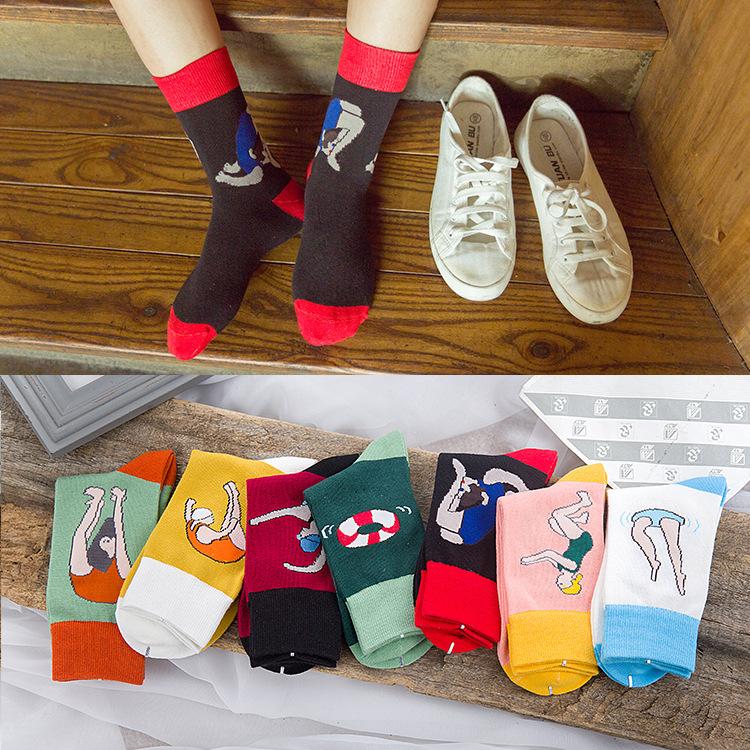 [해외]5Pairs / Lot 봄 새로운 양 면화 크리 에이 티브 해외 무역 양말 면화 그림 수영복 소녀/5Pairs/Lot Spring New Ms. Cotton Creative Foreign Trade Socks Cotton Illustration Swimsuit
