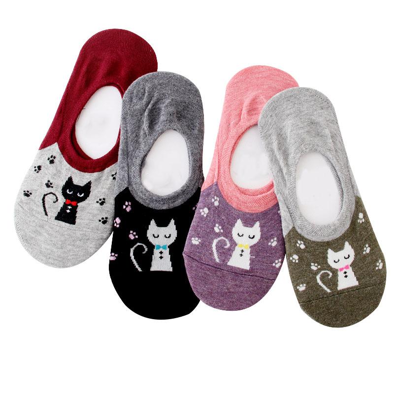 [해외]4pairs 2018 새 봄 여름 여성 보트 양말 러블리 귀여운 고양이 소녀 양말 비 슬립 보이지 않는면 양말 슬리퍼 Meias/4pairs 2018 New Spring Summer Women Boat Socks Lovely Funny Cute Cat Girls