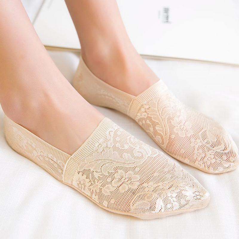 [해외]5pairs / lot 여름 패션 여성을비 - 슬립 보이지 않는 보트 양말 꽃 패턴 양말 슬리퍼 여성 섹시한 낮은 양말/5pairs/lot summer fashion non-slip invisible boat socks for women flowers patte