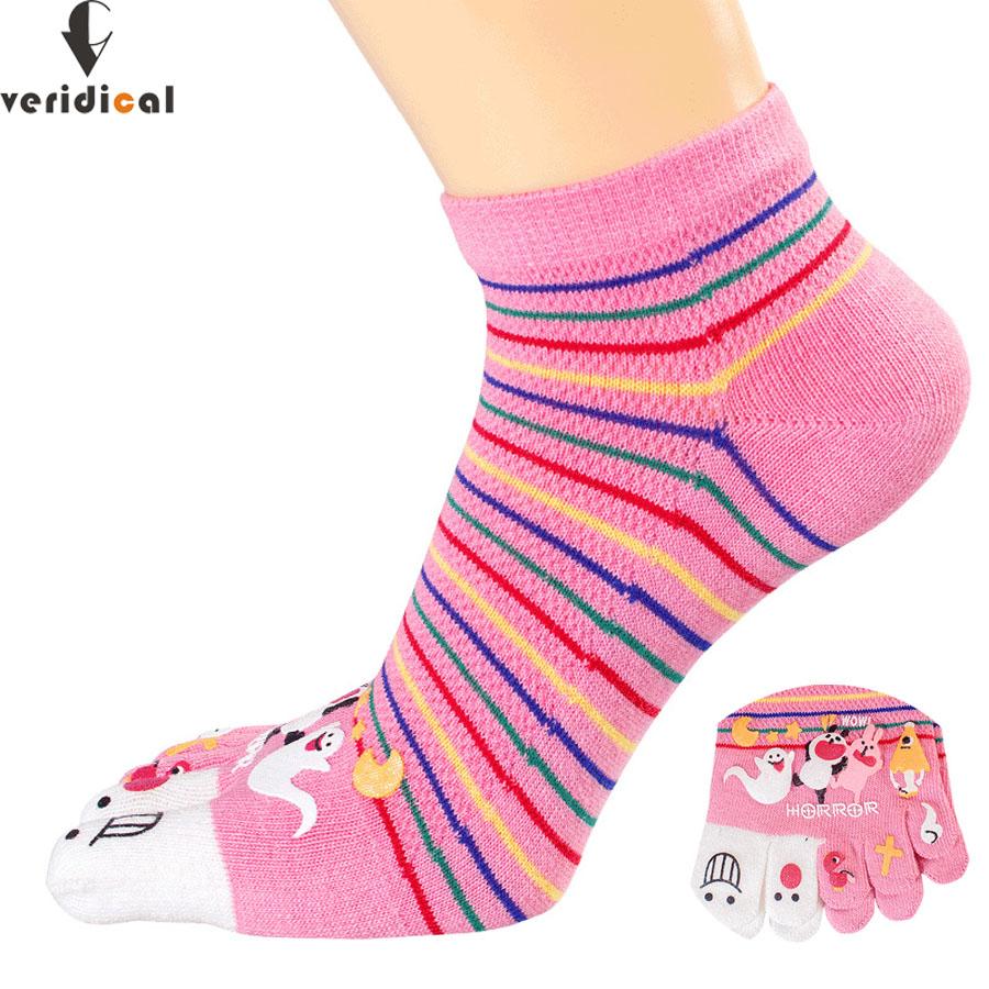 [해외]VERIDICAL 5 켤레 / 발가락 양말 여자 양말 여자 양말 발가락 양말 귀여운 여자 양말 여자가 떨어지지 않는 화려한 스트 라이프 양말/VERIDICAL 5 pairs/lot colorful toe socks woman stripe Silicone neve