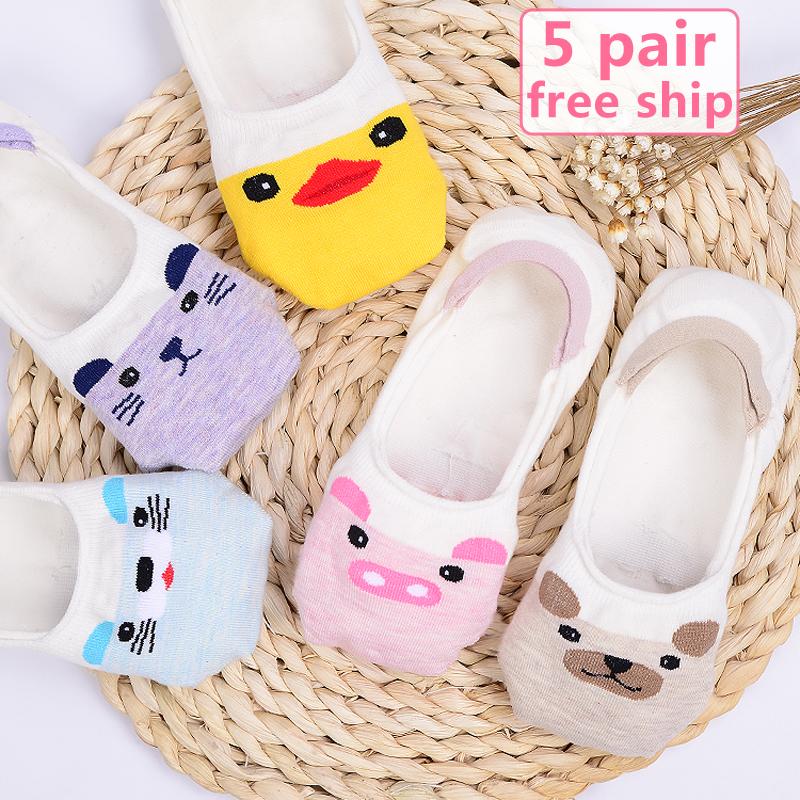 [해외]새 도착 여자면 양말 짧은 여름 얇은 슬리퍼 캐주얼 양말 색 여성 귀여운 만화 동물 무늬 보이지 않는 양말/New Arrival Women Cotton Socks Female cute cartoon animal patterned invisible socks sh
