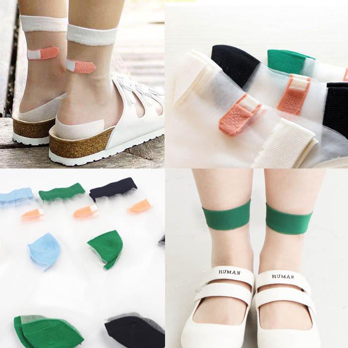 [해외]일본 여름 여성 투명한 양말 하라주쿠 스트레치 밴드 원조 OK 크리스탈 양말 일본 유리 실크 아트 양말 Calcetines Mujer/Japanese Summer Women Transparent Socks Harajuku Stretch Band Aid OK Cr