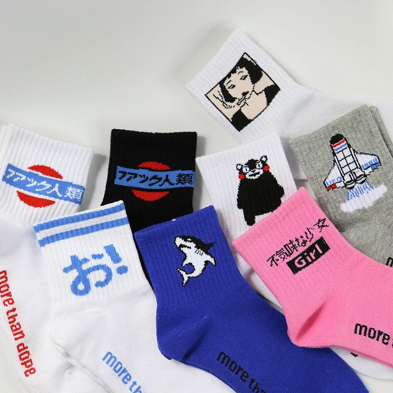 [해외]한국 하라주쿠 여성과 남성 만화 관 양말 재미 있은 일본 로켓 인간 상어 프 리치 프라이 패턴 긴 양말면 양말/Korean Harajuku Women and Men Cartoon Tube Socks Funny Japanese Rocket Human Shark F