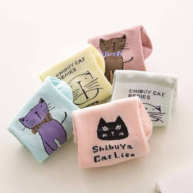 [해외]10pcs = 5pairs 귀여운 만화 동물 패턴 사랑스러운 여성 양말 여름 패션 캐주얼 하라주쿠 스타일 코튼 양말 여성/10pcs=5pairs Cute Cartoon Animal Cats Pattern Lovely Women Socks Summer Fashio