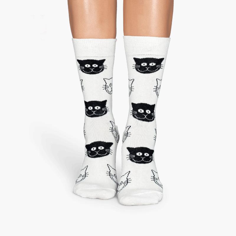 [해외]새로운 2017 년 하라주쿠 코튼 여성 양말 고양이 양말 고양이 양말 무늬 4pairs 개성 chaussette femme calzini 여성 양말/4pairs New 2017 harajuku cotton women socks cat face pattern in