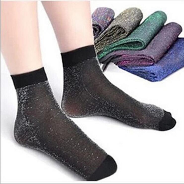 [해외]10 쌍 반짝이 여성 양말 패션 실크 여성 짧은 양말 반짝 이는 하라주쿠 소프트 숙녀 웃기는 양말 투명한 탄성 양말/10 pair Glitter Women Socks Fashion Silk Female Short Socks Shiny Harajuku Soft L
