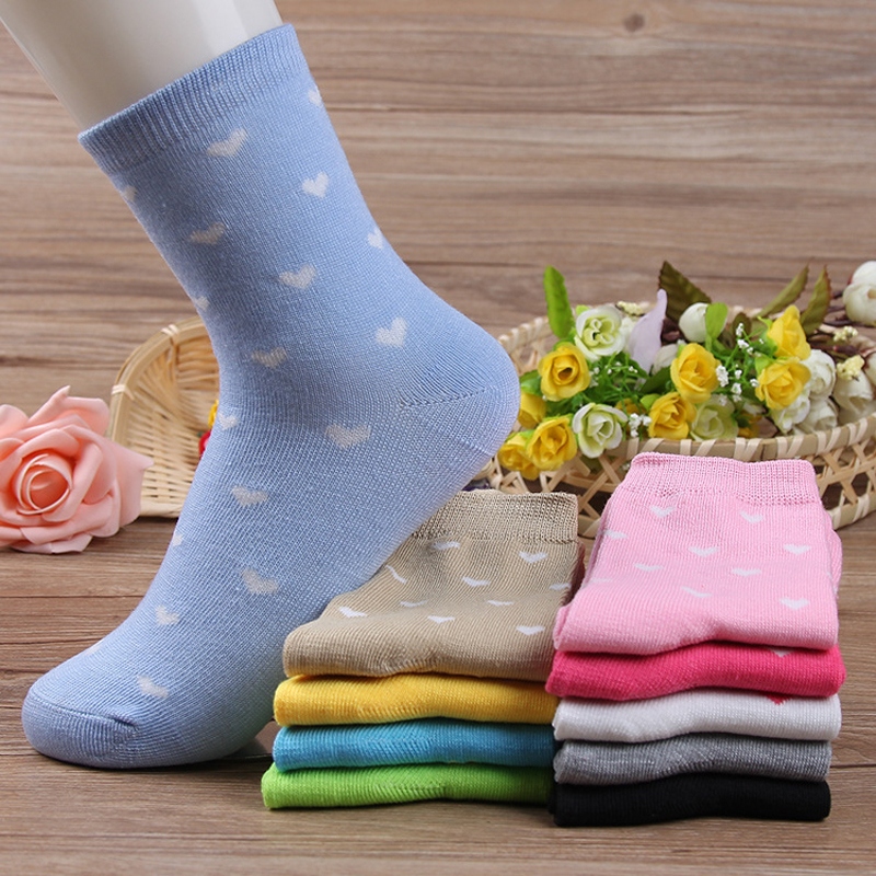 [해외]5 쌍 / 로트 클래식 10 색 사랑 패턴 패션 여성 & 양말 달콤한 신선한 스타일 봄 겨울 패션 여성 짧은 튜브 양말/5 Pairs/ Lot Classic 10 Colors Love Pattern Fashion Women&s Socks Sweet Fre
