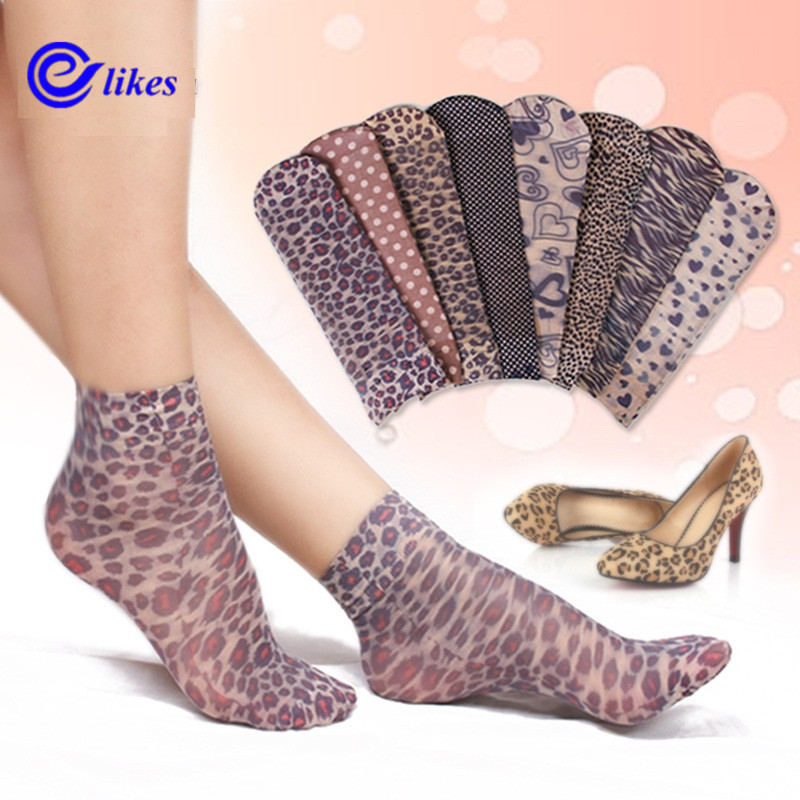 [해외]10 쌍 양말 2017 패션 여성 & 양말 크리스탈 얇은 투명 얇은 실크 양말 여성 여름 Sokken Vrouwen velvet leopard/10 Pairs Socks 2017 Fashion Women&s Socks Crystal Thin Transpa