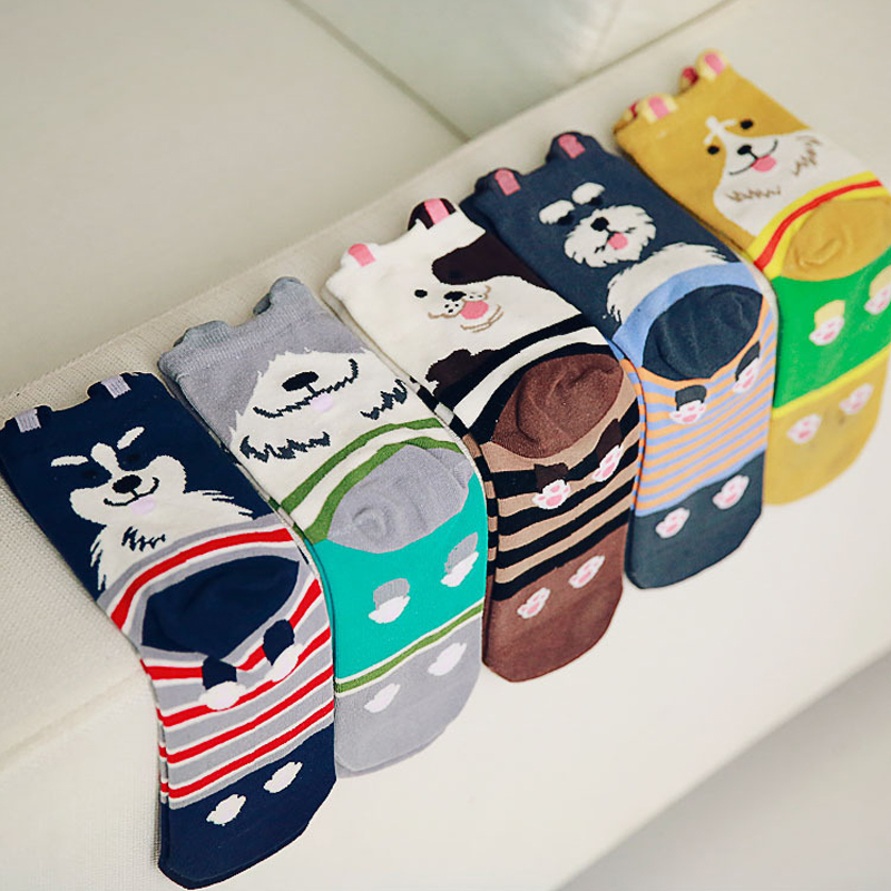 [해외]패션 3D 개 양말 Kawaii 만화 양말 러블리 강아지 면화 여성 양말 재미있는 골든 리트리버 허스키 불독 코튼 양말/Fashion 3D Dog Socks Kawaii cartoon socks Lovely puppy cotton Women socks Funny