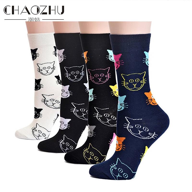 [해외]CHAOZHU 브랜드 양말 여자 양말 만화 고양이 패턴 러블리 코튼 니트 해피 양말/CHAOZHU Brand Socks For Women High Socks Cartoon Cat Pattern Lovely Cotton Knitted Happy Socks