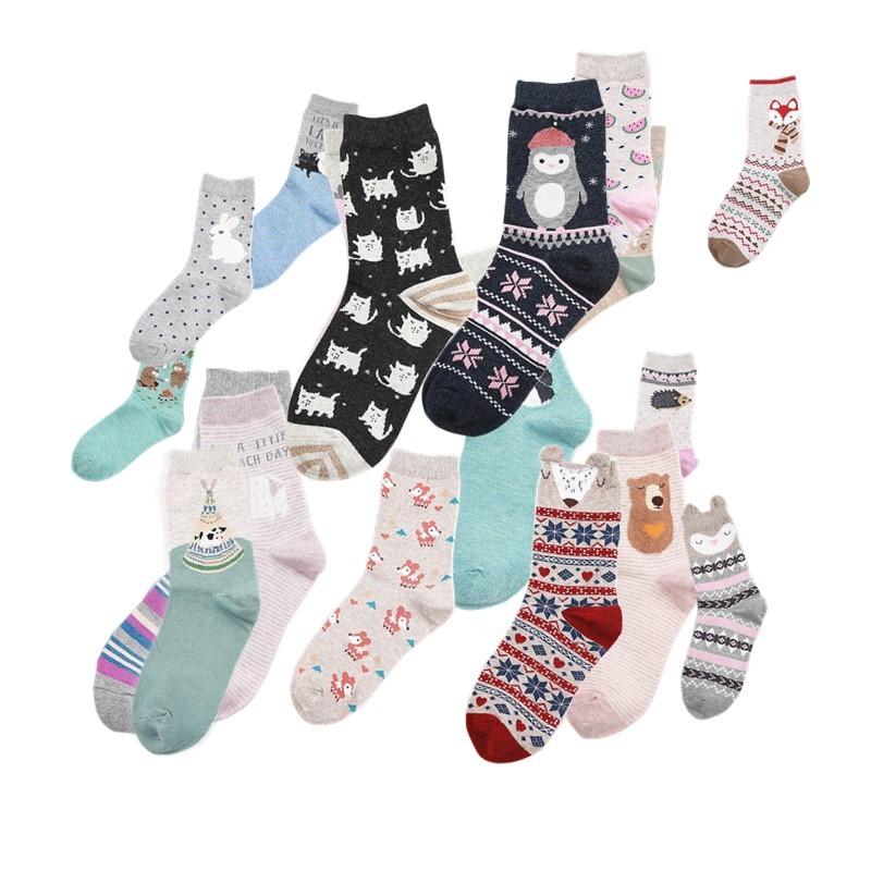 [해외][PEONFLY] 새로운 18 스타일 귀여운 동물 사랑스러운 만화 목화 양말 점 스트라이프 크리 에이 티브 화려한 패션 양말 아름다운 바닥 양말/[PEONFLY] New 18 style Cute animals lovely cartoon cotton socks D