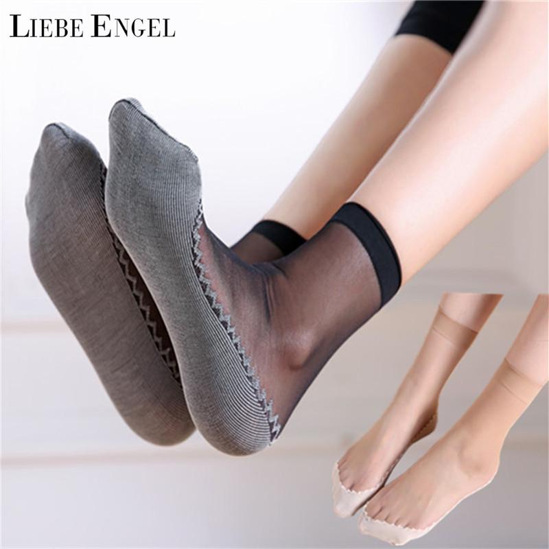 [해외]LIEBE ENGEL 양말 여성 5 쌍 / 많은 여름 얇은 투명 탄성 짧은 양말면 바닥 미끄럼 방지 내마 모성 Meias/LIEBE ENGEL Socks Women 5 Pairs/lot Summer Thin Transparent Elastic Short Sock