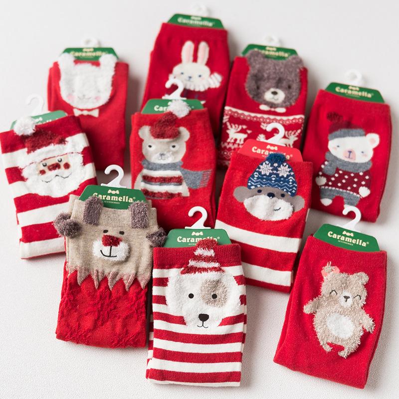 [해외]Caramella 크리스마스 양말 새해 선물 가을 겨울 여성 빨간색 귀여운 만화 동물 면화 양말 숙녀 직선 양말 4pair / lot/Caramella Christmas Socks New Year Gift autumn winter women red cute ca