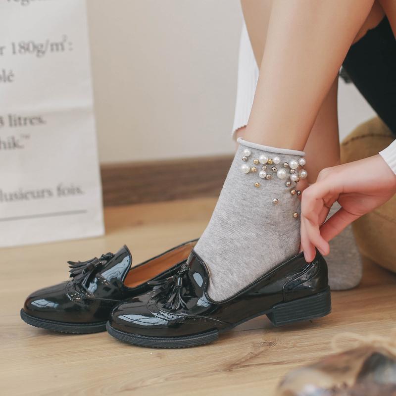 [해외]2017 여름 진주 3d 양말 여성 100 % 코튼 양말 재미있는 솔리드 플레인 발목 하라주쿠 양말 우아한 아트 양말 봄 가을/2017 Summer Pearl 3d Socks Women 100% Cotton Socks Funny Solid Plain Ankle