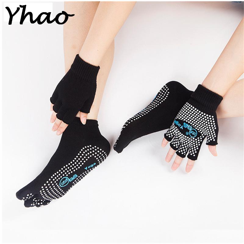 [해외]여자를스포츠 춤 필라테 Yhao 전문 좋은 그립 코튼 비 슬립 요가 양말 & 장갑 세트/Yhao Professional Good Grip Cotton Non-slip Yoga Socks&Gloves Set Sport Dancing Pilates F