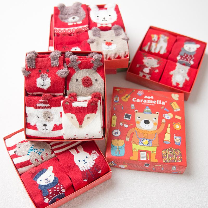 [해외]여자를Caramella 선물 상자 크리스마스 양말 가을 겨울 귀여운 만화 산타 클로스 사슴 패턴 면화 양말 4pairs / box/Caramella Gift Box Christmas Socks For Women autumn winter cute cartoon S