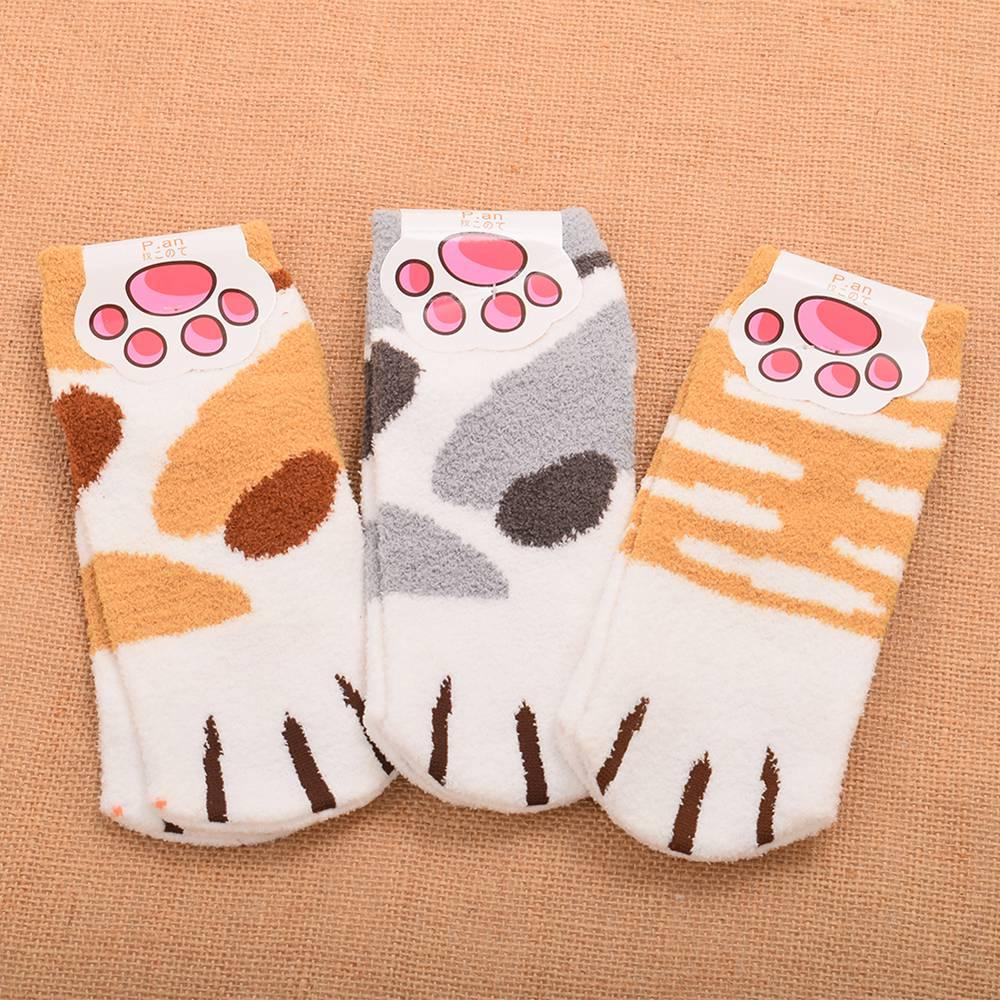 [해외]1 쌍 만화 양 털 양말 귀여운 겨울 고양이 발톱 패턴 따뜻한 짧은 양말/1 pair Cartoon Fleece Socks Cute Winter Cat Claw Pattern Warm Short Socks