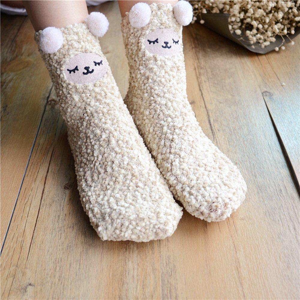 [해외]여자 겨울 산호 양털 양말 귀여운 만화 디자인/Women Winter Coral Fleece Socks Cute Cartoon Design