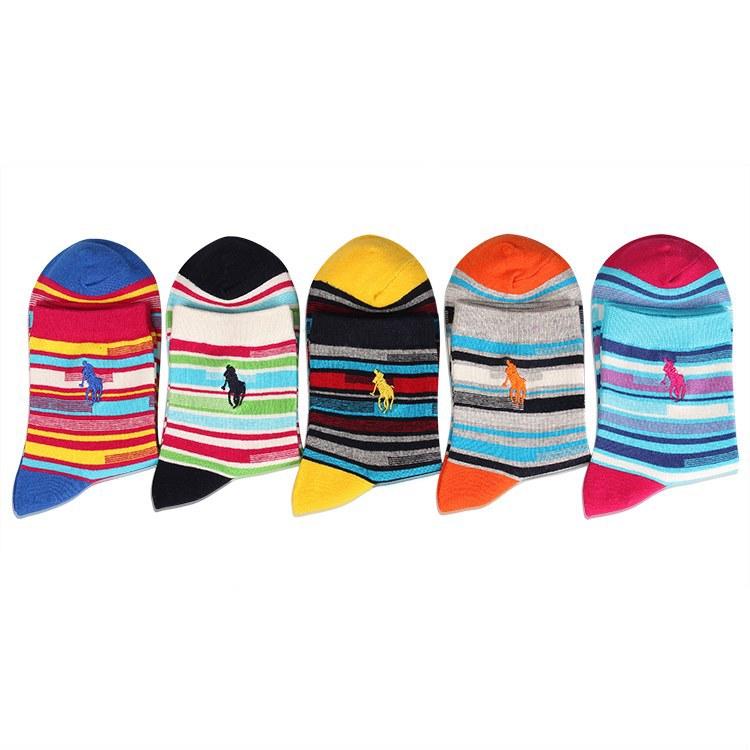 [해외]2017 캐주얼 러쉬 드 Mujer 크리스마스 양말 튜브에 새 부두 폴로 면화 색 줄무늬 수 놓은 여자 야생/2017 Casual Rushed Mujer Christmas Socks New Pier Polo Cotton Color Stripes In The Tu