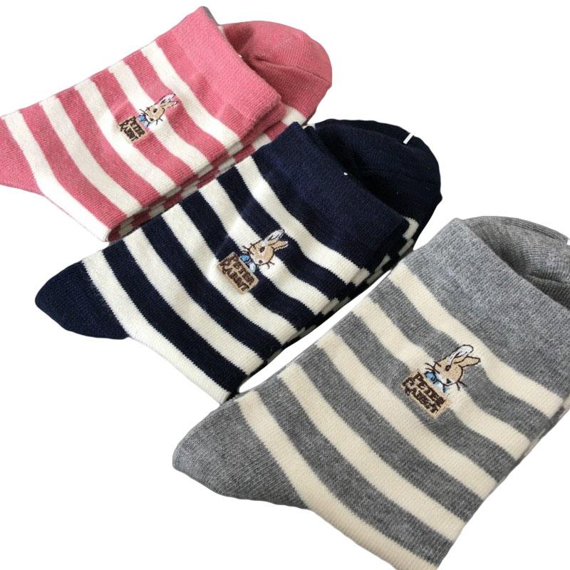 [해외]여자 면도기 용 일본 면사 줄무늬 Mujer Skarpetki Damskie 만화 피터 래빗 Meias Kawaii 캐릭터 동물 양말/Japanese Cotton Striped Socks For Girls Botines Mujer Skarpetki Damskie