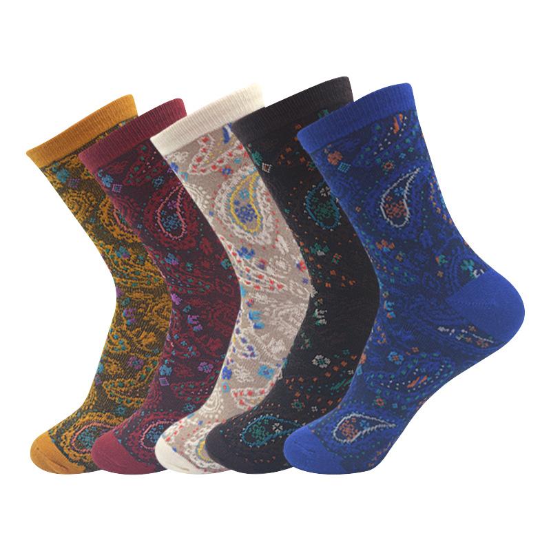 [해외]5 쌍 여성 짧은 양말 국립 바람 빈티지 자카드 여성 양말 가을 겨울 신축성 데오도란트 캐주얼면 양말 Meias/5 Pairs Women Short Sock National Wind Vintage Jacquard Women Socks Autumn Winter S