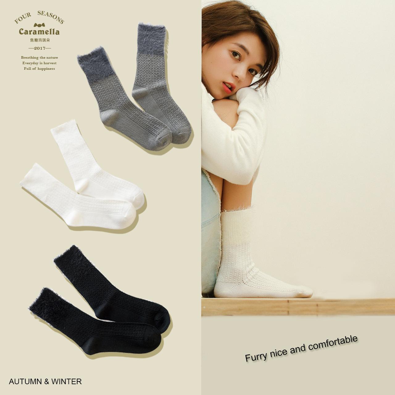 [해외]1Pair / lot 러블리 솔리드 아크릴 양말 가을 겨울 스타일 깃털 원사 귀여운 여성 양말 소녀 바비 삭스 Calcetines Meias/1Pair/lot Lovely Solid Acrylic Socks Autumn Winter Style Feather Ya