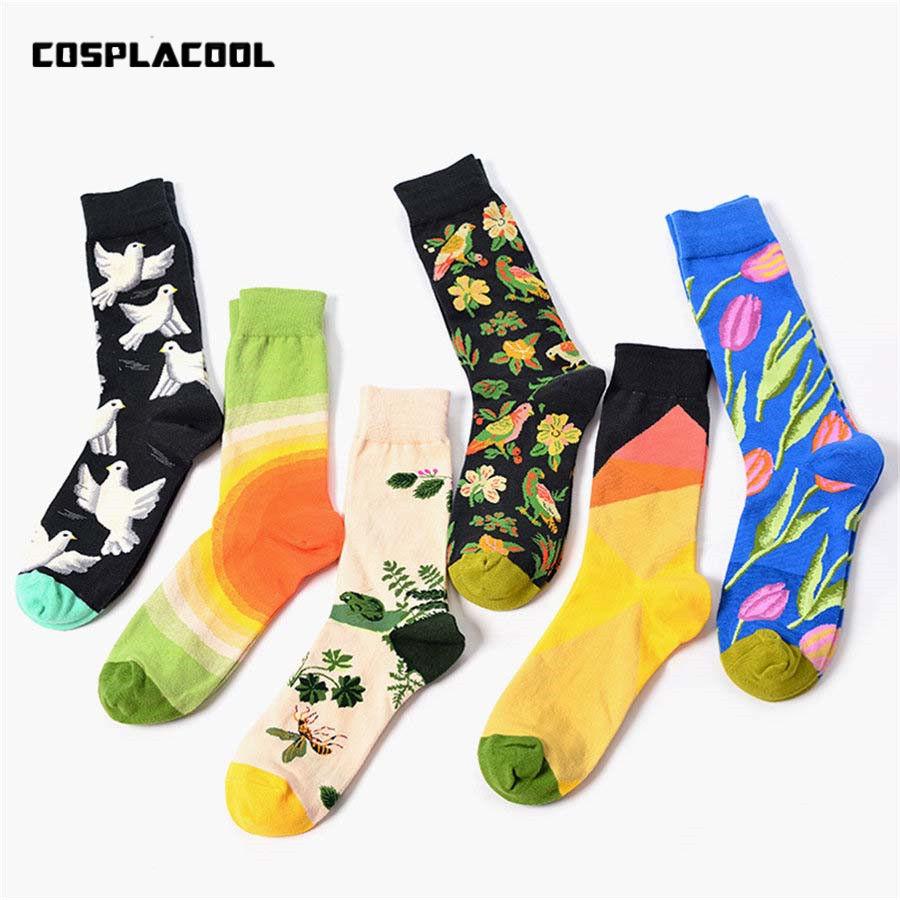 [해외]크리 에이 티브 UniHarajuku 참신 meias 꽃 새 패턴 재미 있은 양말 유럽 미국 겨울 면화 스케이트 보드 긴 Chaussettes/Creative UniHarajuku Novelty meias Flowers Birds Pattern Funny Soc