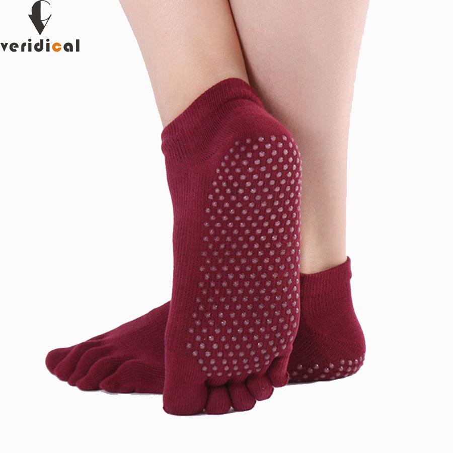 [해외]VERIDICAL 5 쌍 / 많은 좋은 품질의 손가락 양말 여자 실리콘 미끄럼 방지 발가락 양말 코튼 전문 필라테스 원활한 양말/VERIDICAL 5 pairs/lot good quality finger socks woman silicone non-slip to