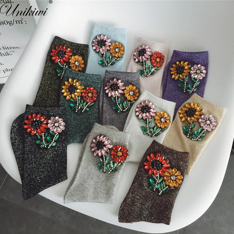 [해외]8 색 여성 및 참신 라인 석 봄 보석 꽃 양말. 반짝이 반짝 반짝 양말. 숙녀 밝은 복고풍 삭스 발목 양말 Meias/8 Colors.Women&s Novelty Rhinestone Spring gem Flowers Socks.Sliver Shiny Glitt