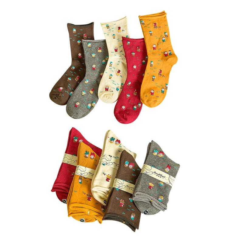 [해외]5 쌍 여성 짧은 목화 양말 재미있는 크리스마스 짧은 사람 밝은 색 여성 양말 가을 봄 넓은 입 통풍 Meias/5 Pairs Women Short Cotton Sock Funny Christmas Short Person Bright Color Women Soc