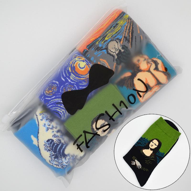 [해외]5 페어 / 세트 유명한 오일 페인팅 모나리자 아트 여성 양말 코튼 하라주쿠 패션 재미 있은 여자 긴 양말 선물 가방/5 Pair/set Famous Oil Painting Mona Lisa Art Women Socks Cotton Harajuku Fashion